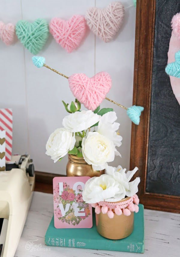 Valentine's Day Craft- Yarn Wrapped Hearts