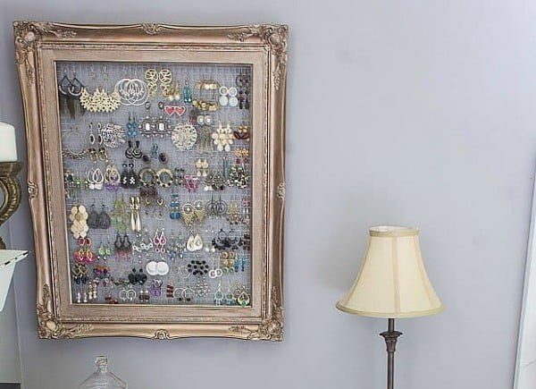 DIY Framed Jewelry and Earring Organizer