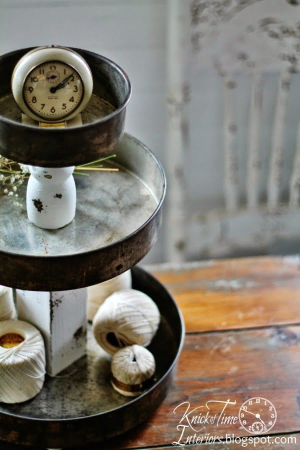 Tiered Stands with Repurposed Bowls and Tins