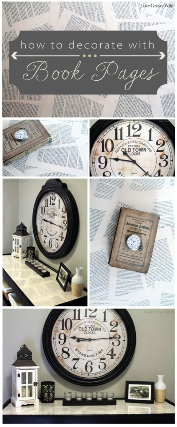 Ideas for Decorating with Book Pages