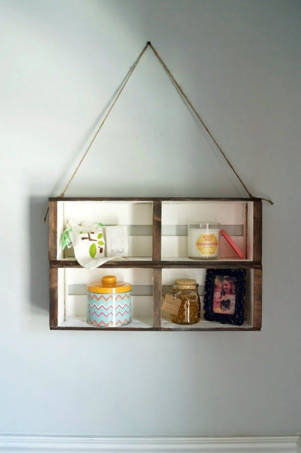 DIY Hanging Crate Wall Shelf #DIY #organize #storage #homedecor