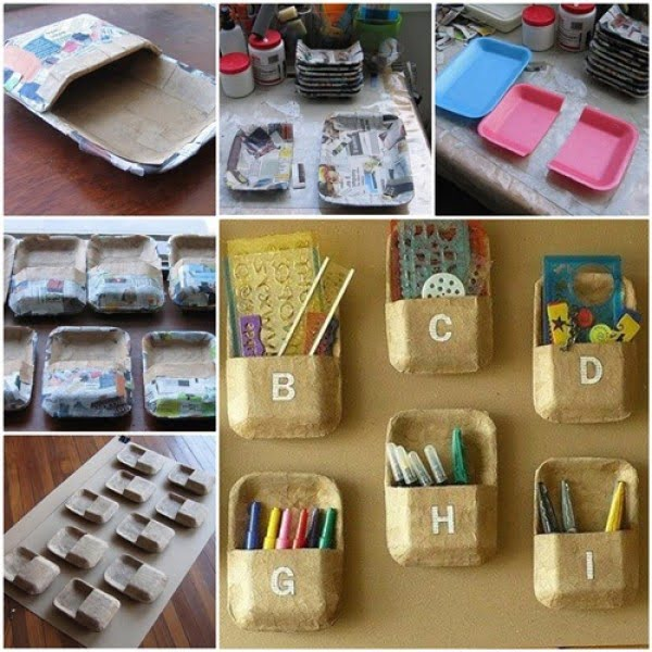 DIY Wall Organizer from Styrofoam Trays #DIY #organize #storage #homedecor