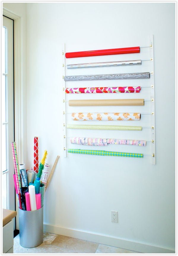 DIY Wrapping Paper Organizer #DIY #organize #storage #homedecor