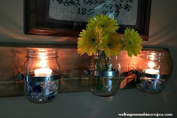 How to Make a Mason Jar Wall Organizer #DIY #organize #storage #homedecor
