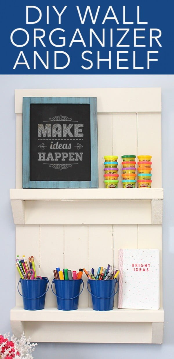 DIY Wall Organizer + Shelf #DIY #organize #storage #homedecor