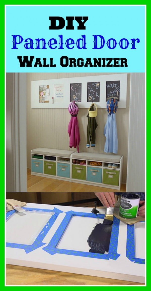 DIY Wall Organizer From A Door #DIY #organize #storage #homedecor