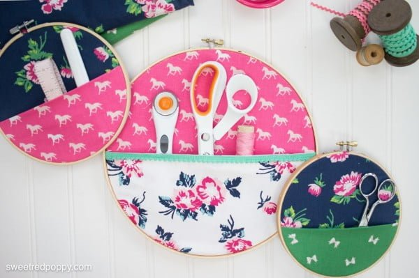 DIY Embroidery Hoop Hanging Wall Organizers