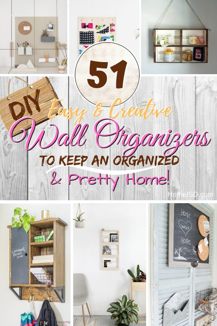 Organize your home and make it look pretty by using the vertical wall space. Here are 51 brilliant ideas to choose from! #DIY #organize #walldecor #homedecor #storage
