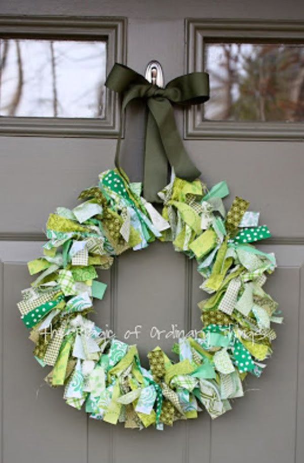DIY St. Patricks's Day rag wreath