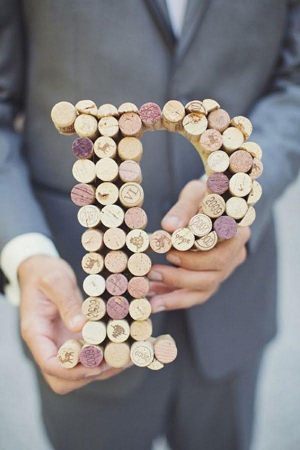 DIY Wine Cork Monogram Decor