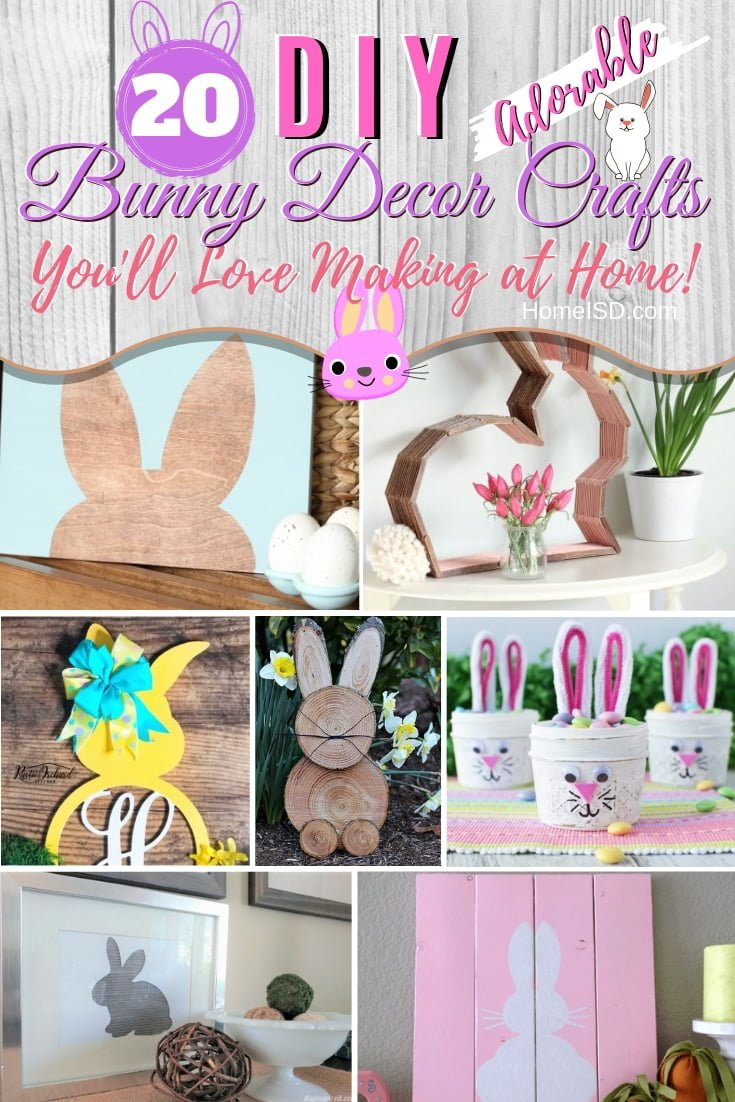 Freshen up your home decor for spring and Easter with adorable bunny art that you can DIY. These are some amazing ideas! #DIY #bunny #springdecor #homedecor #easter