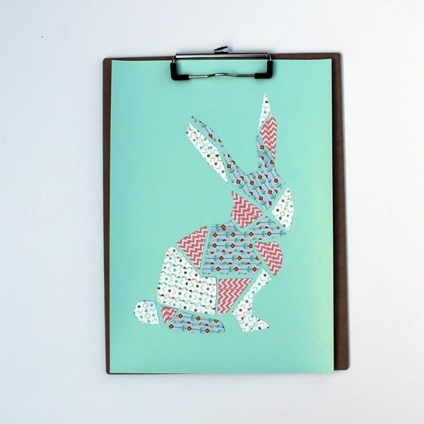 DiY washi tape bunny art