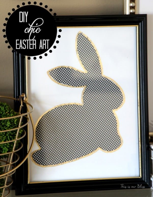 DIY Chic Easter Art [gold foil edged bunny]