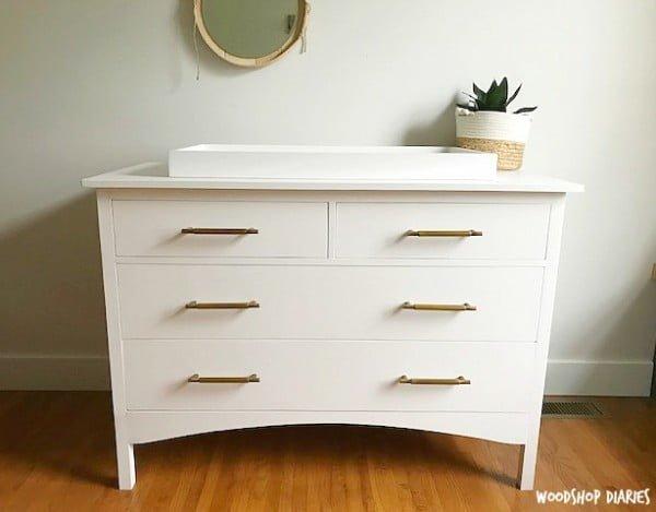 DIY Changing Table Dresser #DIY #bedroom #furniture #woodworking #dresser