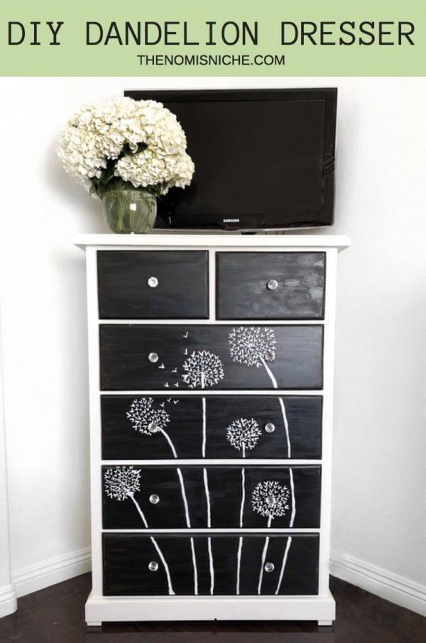 DIY DANDELION DRESSER #DIY #bedroom #furniture #woodworking #dresser