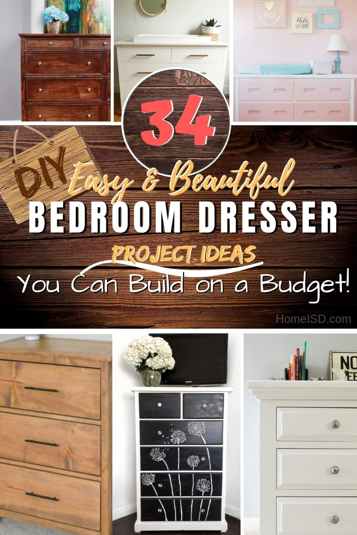 Want to build or makeover a bedroom dresser? Here are 34 brilliant DIY ideas on a budget! #DIY #homedecor #furniture #bedroom #woodworking