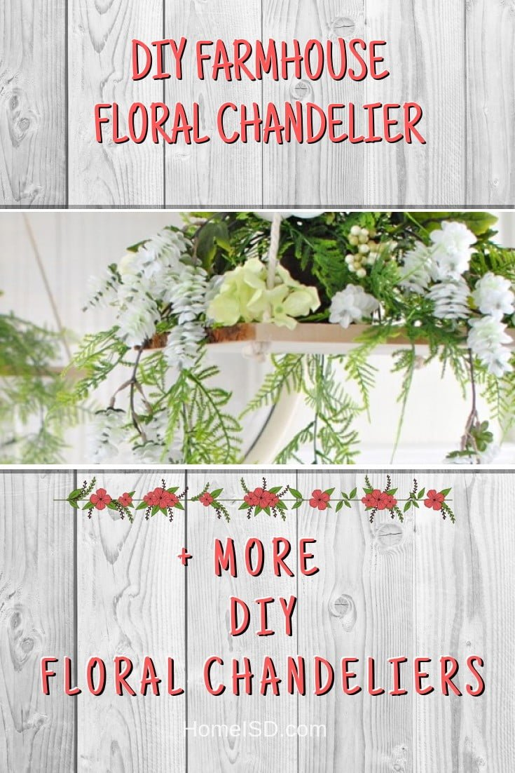 DIY Farmhouse Floral Chandelier #chandelier #DIY #floral #homedecor #craft