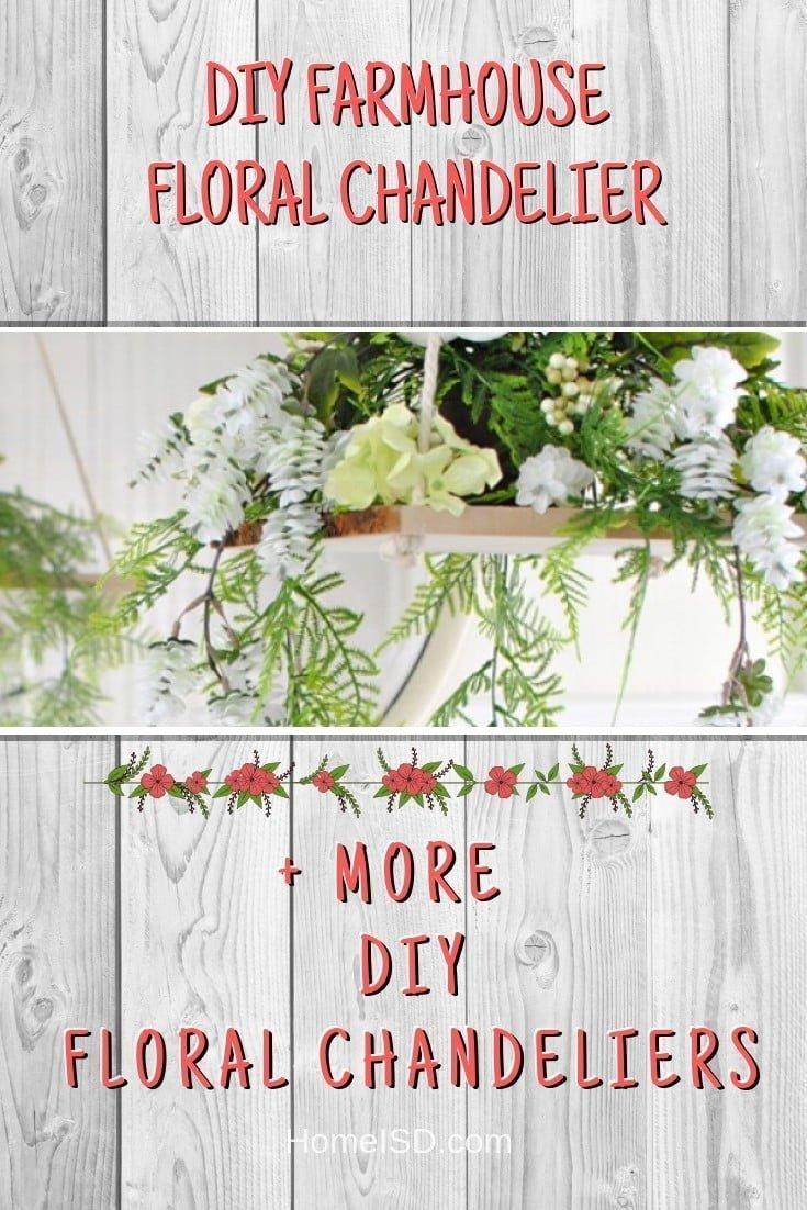 DIY Farmhouse Floral Chandelier