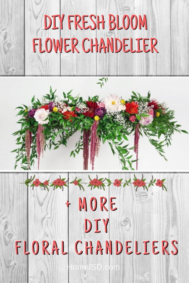 DIY Fresh Bloom Flower Chandelier #chandelier #DIY #floral #homedecor #craft