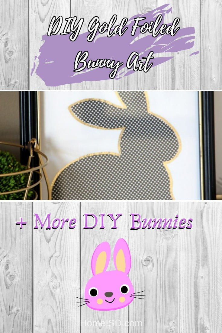 DIY Gold Foiled Bunny Art  s art