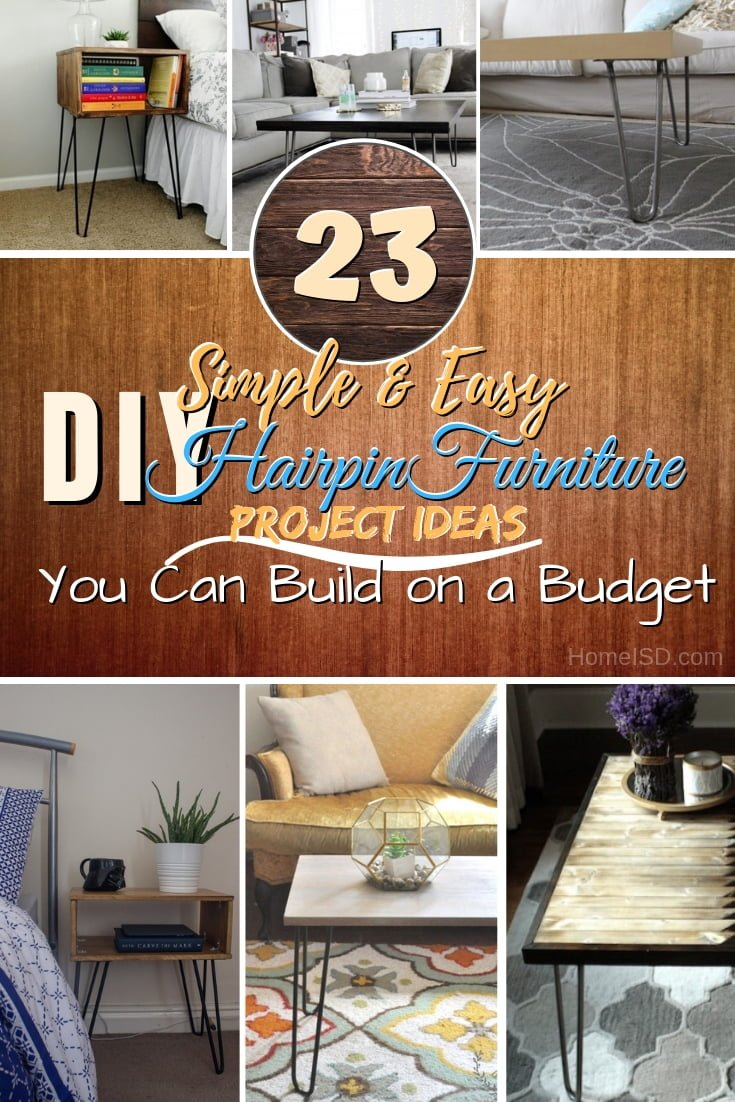 Want to add a mid-century modern style accent to your home decor with hairpin furniture? These DIY ideas will help you save a lot of money! #DIY #woodworking #furniture #hairpinlegs #homedecor