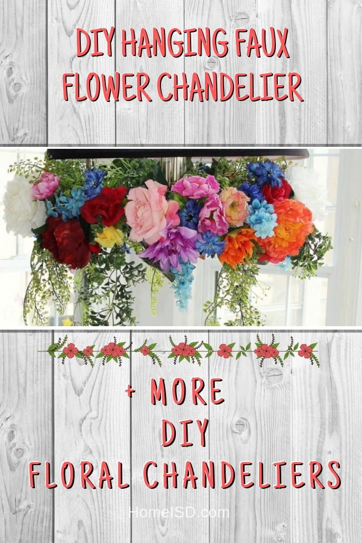 DIY Hanging Faux Flower Chandelier #chandelier #DIY #floral #homedecor #craft