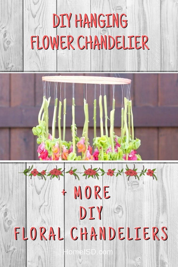 DIY Hanging Flower Chandelier #chandelier #DIY #floral #homedecor #craft