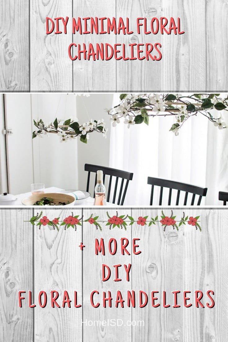 DIY Minimal Floral Chandeliers #chandelier #DIY #floral #homedecor #craft
