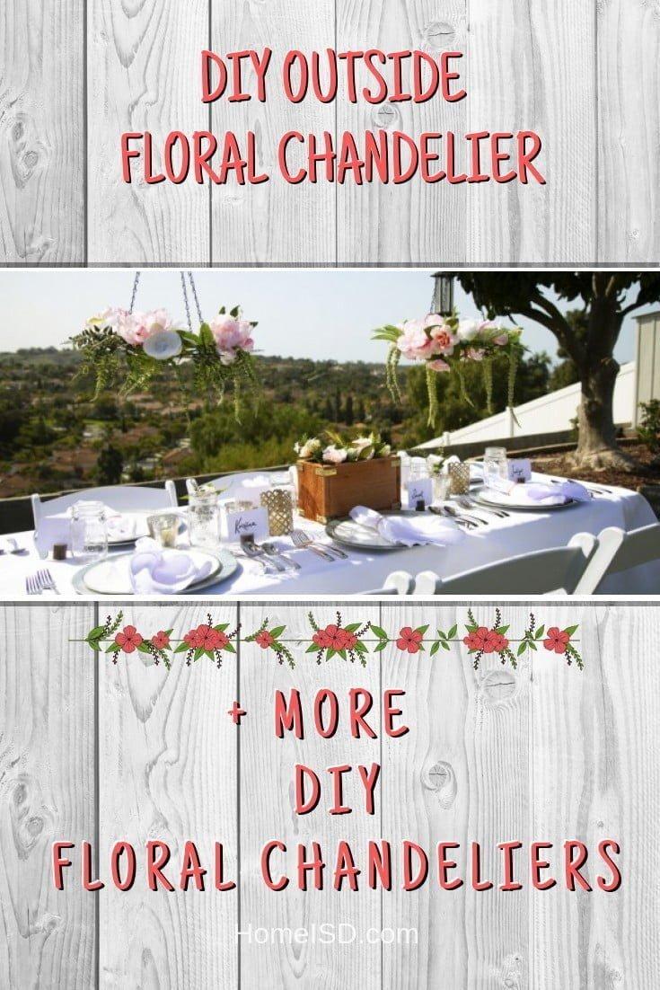DIY Outside Floral Chandelier