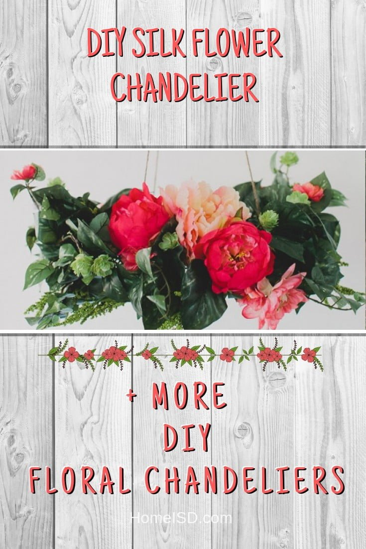 DIY Silk Flower Chandelier #chandelier #DIY #floral #homedecor #craft