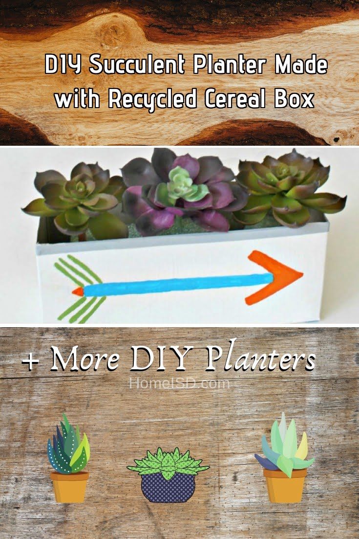 DIY Succulent Planter Made with Recycled Cereal Box