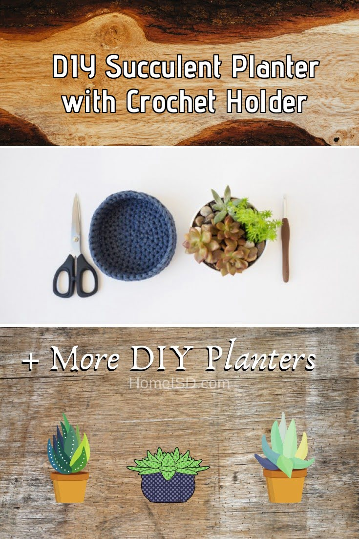 DIY Succulent Planter with Crochet Holder