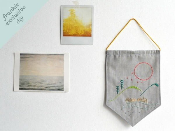 diy mini embroidered wall hanging