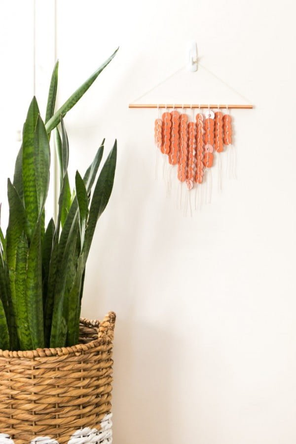 DIY Copper Washer Heart Wall Hanging