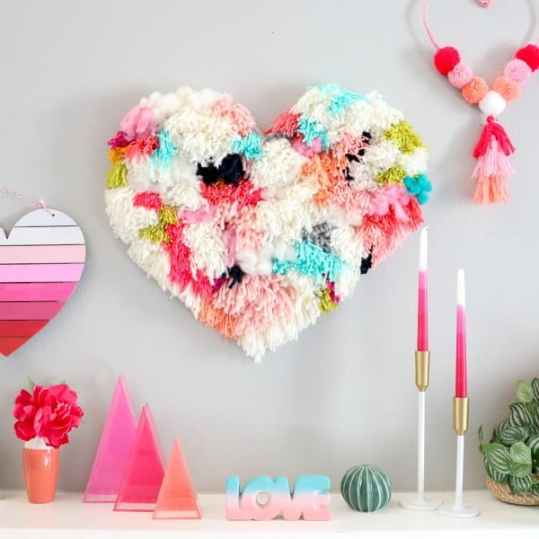 DIY Faux Latch Hook Heart Wall Hanging