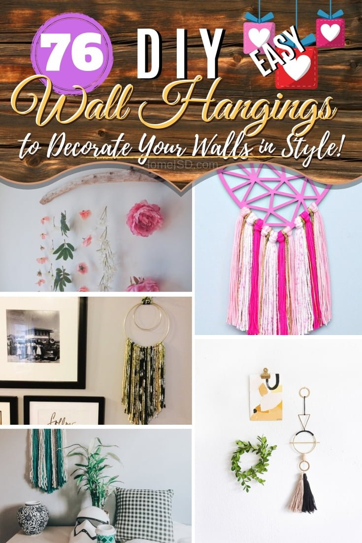 Decorate your home walls with the most creative DIY wall hangings. An epic list of 76 inspiring DIY ideas! #walldecor #wallhangings #DIY #craft #homdedecor