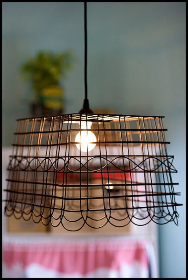 DIY Wire Basket Pendant Light