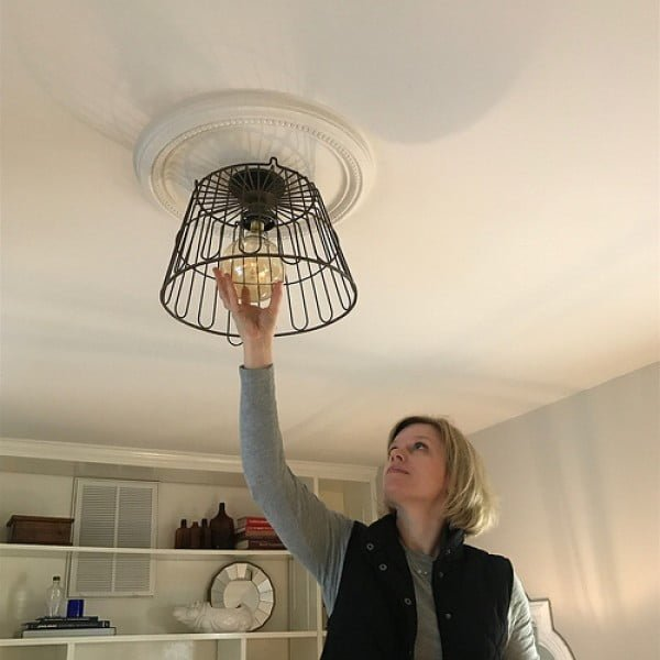 Our Lightbulb Moment: Creating a DIY Wire Basket Light Fixture