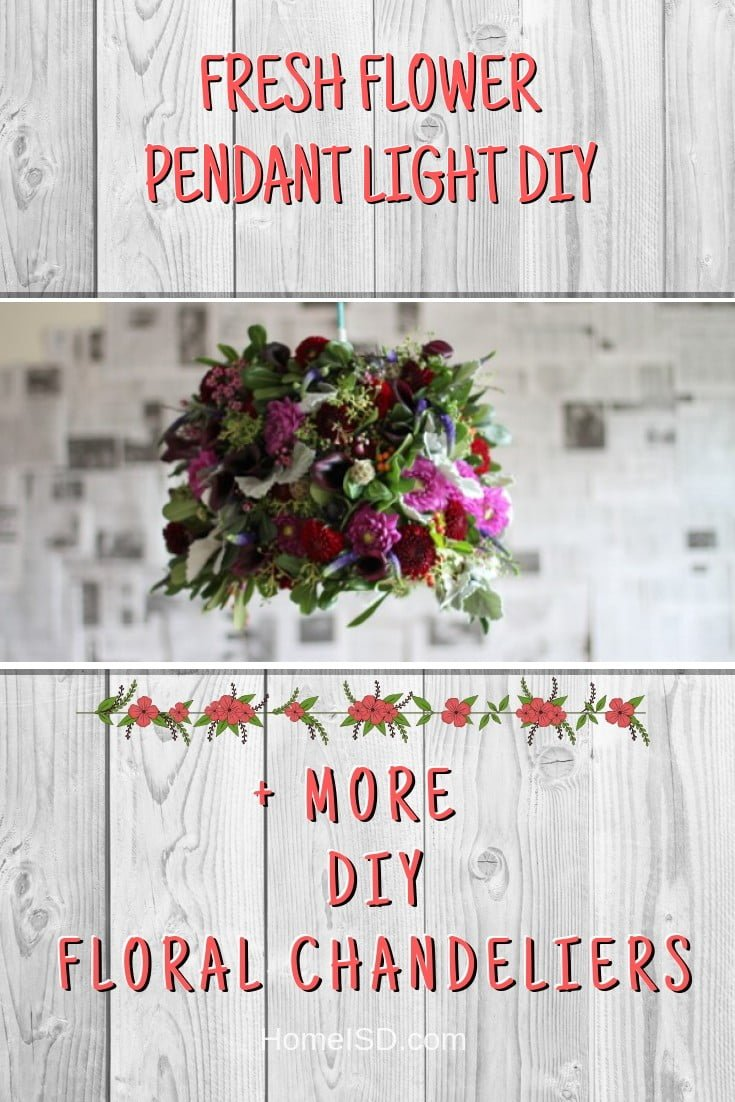 Fresh Flower Pendant Light DIY #chandelier #DIY #floral #homedecor #craft