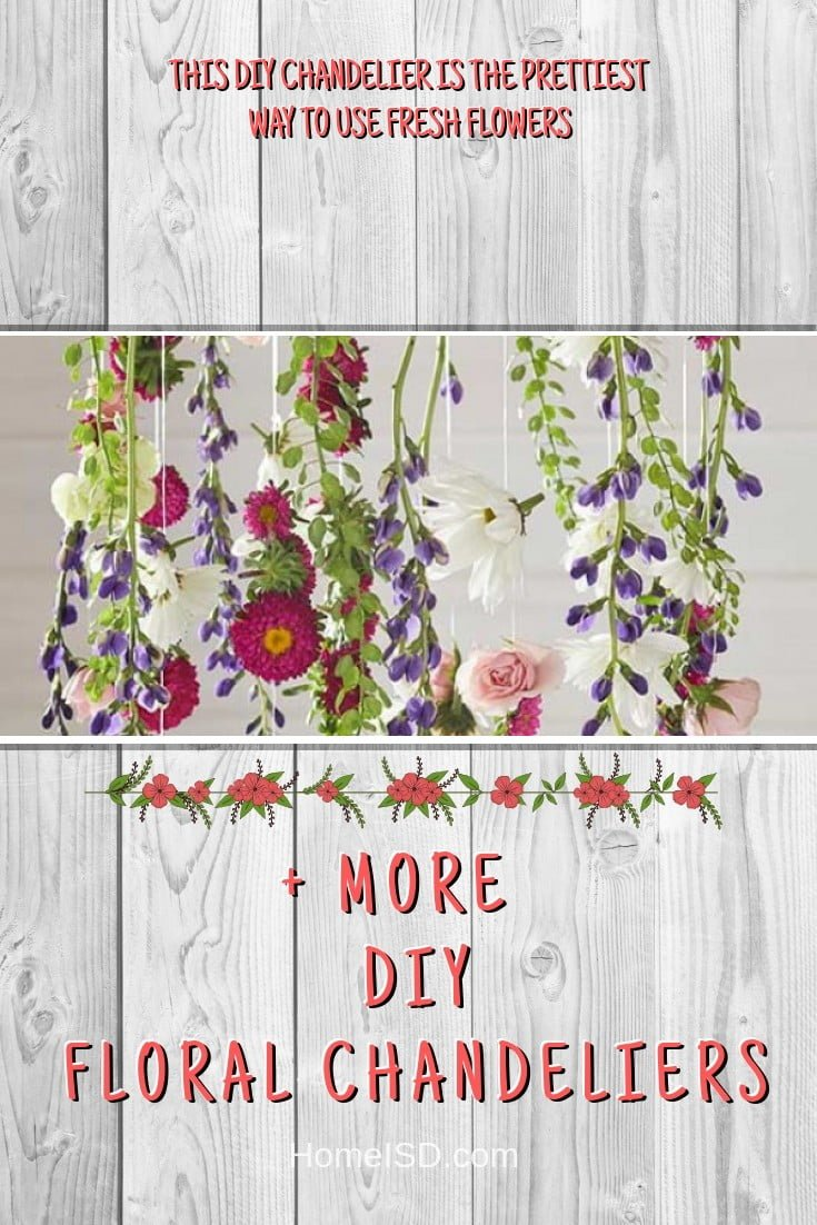 This DIY Chandelier Is The Prettiest Way To Use Fresh Flowers #chandelier #DIY #floral #homedecor #craft