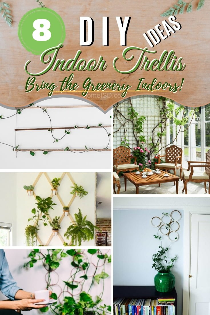 Bring the greenery inside with an amazing DIY indoor trellis. Great ideas! #DIY #trellis #indoor #houseplants #homedecor