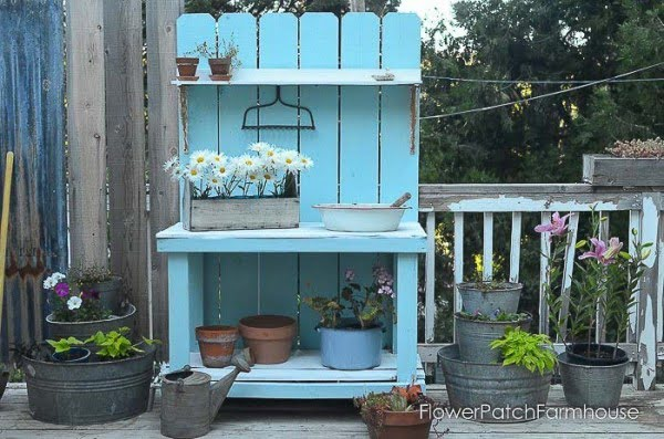 DIY Potting Bench using Fence Boards