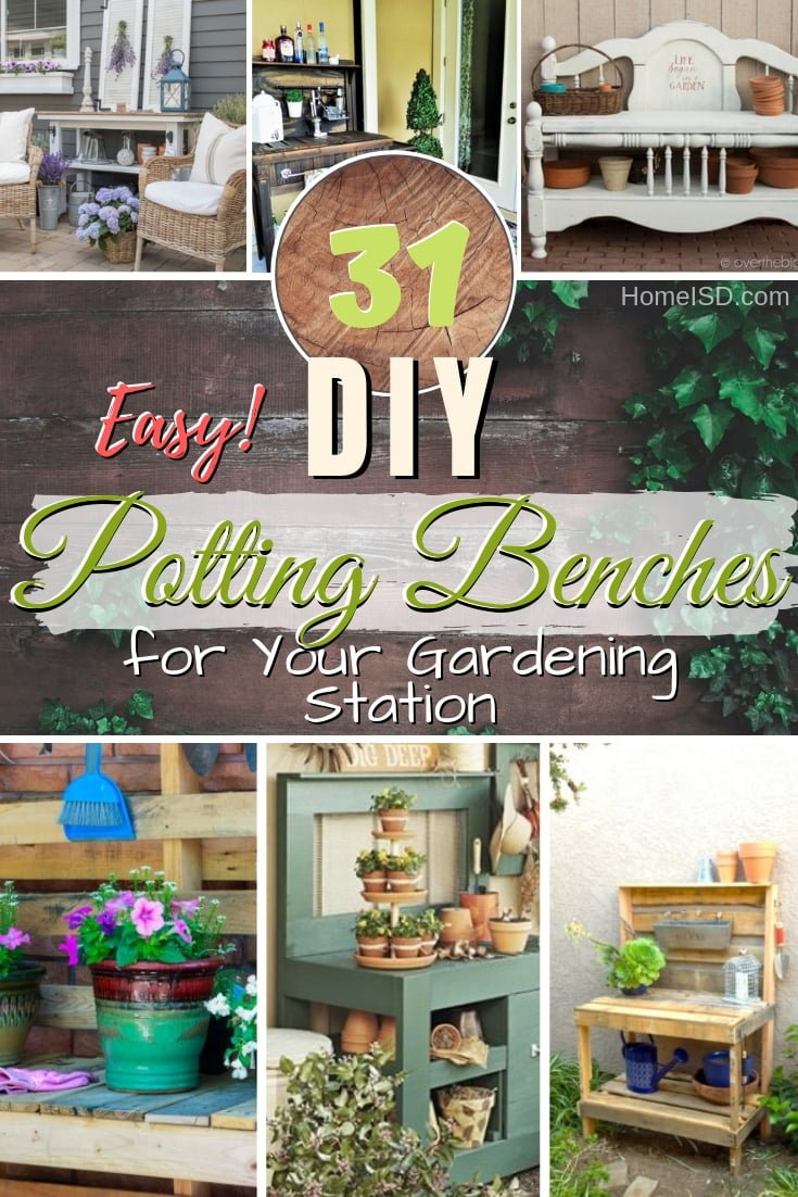 Get your hands dirty and build yourself the ultimate gardening station - a DIY pottery bench. Great ideas! #DIY #gardening #pottingbench #furniture #woodworking