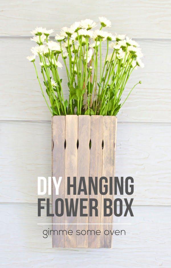 DIY Hanging Flower Box #DIY #windowbox #planter #gardening