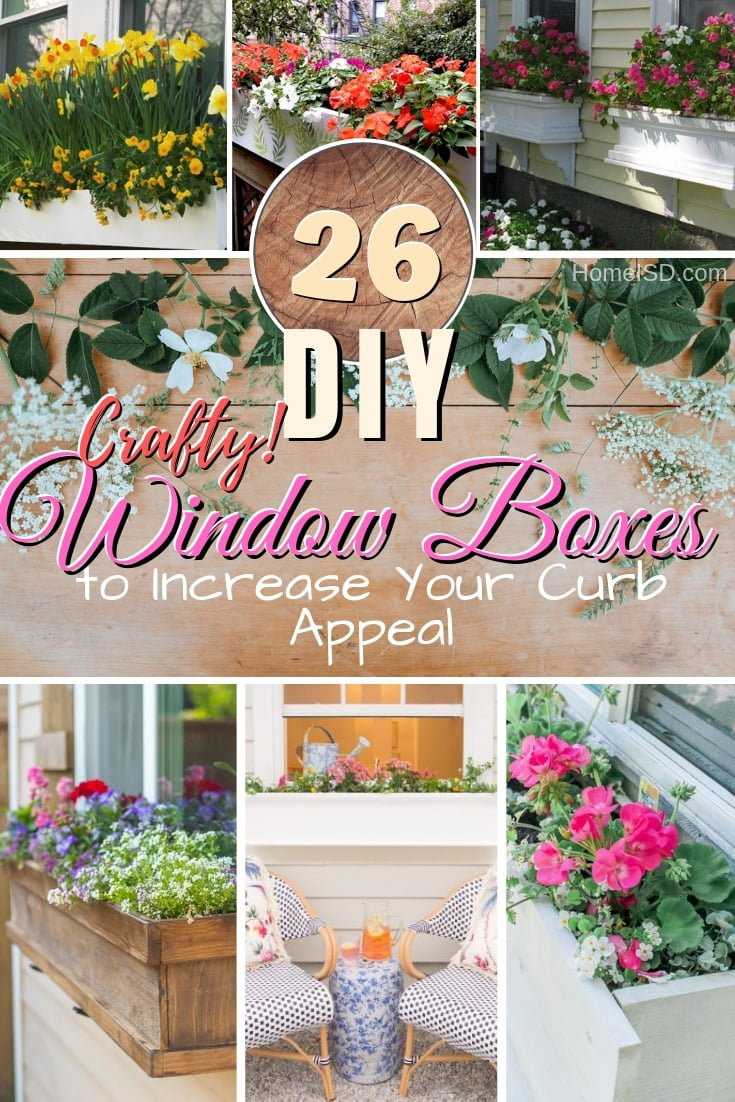 Increase your home curb appeal with a beautiful new DIY window box planter. 26 great ideas to try! #DIY #gardening #curbappeal #woodworking #craft