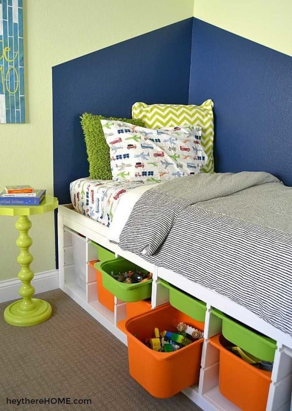 DIY Twin Platform Bed With Storage- IKEA Hack #DIY #bedroom #storage #organization #homedecor