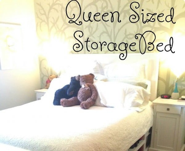 DIY Queen Sized Storage Bed' #DIY #bedroom #storage #organization #homedecor