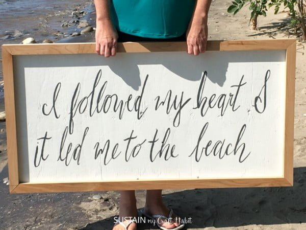 DIY Scrap Wood Beach-Themed Farmhouse Sign    working
