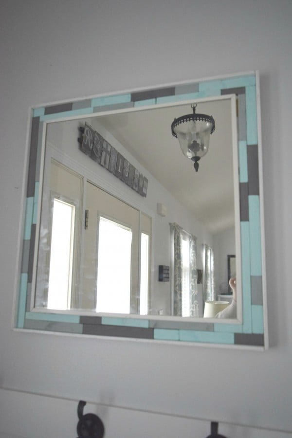 DIY wood scrap mirror frame • Our House Now a Home    working