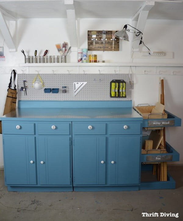 Upcycled Workstation With DIY Scrap Wood Storage    working